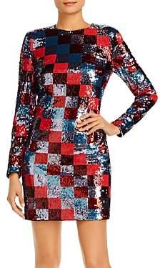 Escada Sport Deighty Checkered Sequin Mini Dress