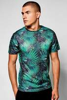 boohoo Palm Print Sublimation T-Shirt green