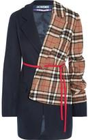 Jacquemus Paneled Checked Wool-blend Blazer - Navy