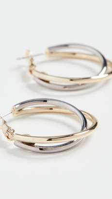 Kenneth Jay Lane Gold and Silver Twist Hoops