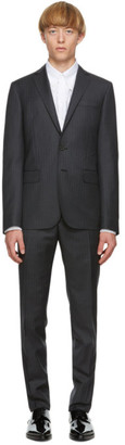 DSQUARED2 Grey Wool Striped Paris Fit Suit