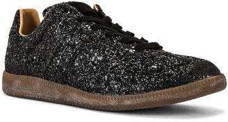 Maison Margiela Leather Replica Glitter Sneaker in Black & Carob Black | FWRD