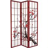 Oriental Furniture Art Print Shade, 6-Feet Sakura Blossom Shoji Folding Floor Screen Room Divider