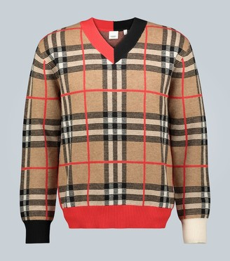 Burberry Check Merino wool V-neck sweater