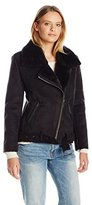 Dolce Vita Women's Faux Suede and Faux Shearling Combo Veronica Moto Jacket