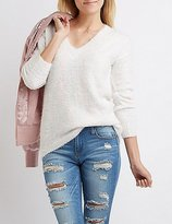 Charlotte Russe Fuzzy V-Neck Oversized Sweater