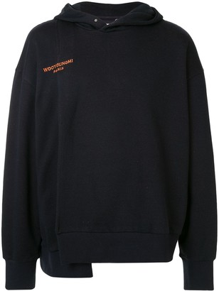 Wooyoungmi Asymmetric Logo Embroidered Hoodie