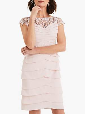 Phase Eight Faith Floral Lace Layered Dress, Petal Pink
