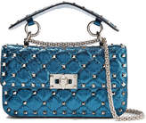 Valentino Rockstud Spike Small Quilted Metallic Leather Shoulder Bag - Cobalt blue