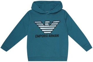 Emporio Armani Kids Logo cotton-blend hoodie