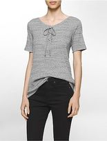 Calvin Klein Womens Lace-Up Ribbed T-Shirt