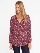 Old Navy Split-Neck Floral-Print Blouse for Women