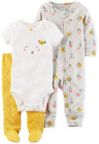 Carter's 3-Pc. Cotton Lamb Bodysuit, Coverall & Footed Pants Set, Baby Girls (0-24 months)