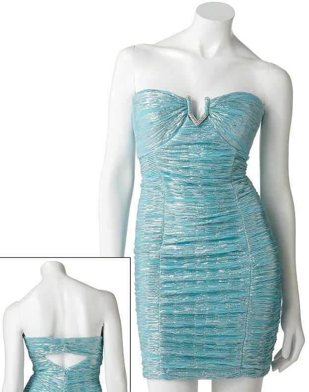 My Michelle foil strapless dress - juniors
