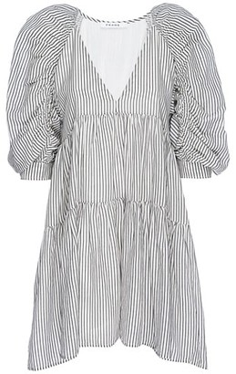 Frame Shirred Pinstripe Empire Puff-Sleeve Dress
