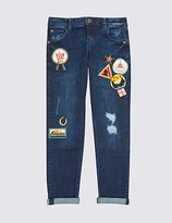 Marks and Spencer Cotton Embroidered Jeans with Stretch (3-14 Years)