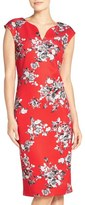 ECI Floral Print Scuba Sheath Dress