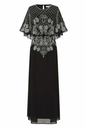 Frock and Frill HAVA Black Embellished Cape Sleeve Maxi (16)