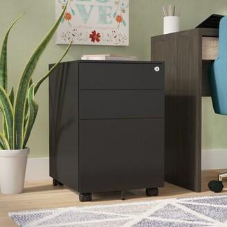 Symple Stuff Hambly 3-Drawer Mobile Vertical Filing Cabinet Color: Black