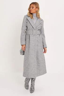 I SAW IT FIRST Grey Formal Belted Long Line Coat