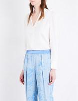 Diane von Furstenberg Collarless silk-blend shirt