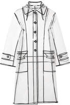 Miu Miu Grosgrain-trimmed Pvc Trench Coat - White