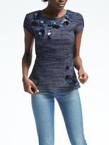 Banana Republic Short-Sleeve Embellished Peplum Shirt