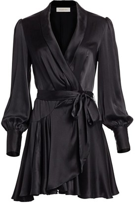 Zimmermann Espionage Silk Mini Wrap Dress