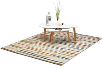 Camilla And Marc Relaxdays Striped Rug, Hallway Runner, 160 x 230 cm, Wool, Large, Colourful, Hand-Woven