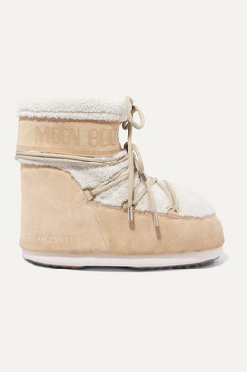 Moon Boot Shearling And Coated-suede Snow Boots - Beige