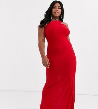 Club L London Plus one strap shoulder maxi dress in red