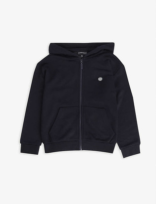 Emporio Armani Logo-embroidered cotton-blend hoody 4-16 years