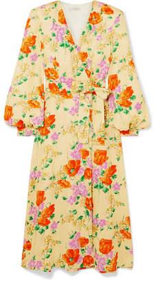 Dries Van Noten Floral-jacquard Wrap Dress - Yellow