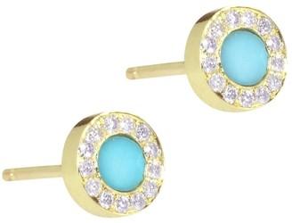 Jennifer Meyer Turquoise And Diamond Circle Stud Earrings