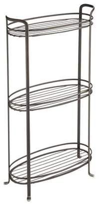 mDesign Vertical Standing Bathroom Shelving Unit Tower with 3 Baskets, Bronze
