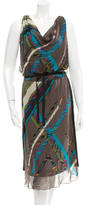Burning Torch Silk Printed Dress w/ Tags