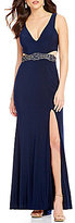 GB Social Illusion-Inset Beaded Waist Sleeveless V-Neck Gown