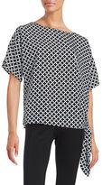 MICHAEL Michael Kors Houndstooth Print Side-Tie Top