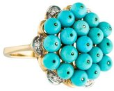 Ring 14K Turquoise & Diamond Cluster Cocktail