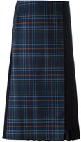 Cédric Charlier pleat back plaid skirt - women - Virgin Wool/other fibers - 40