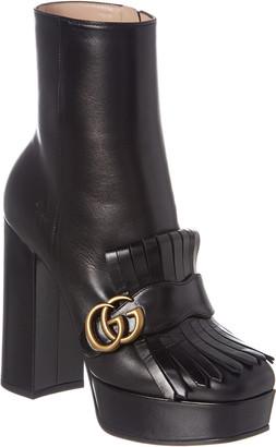 Gucci Fringe Leather Platform Ankle Boot