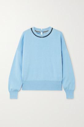 Brunello Cucinelli Bead-embellished Cashmere Sweater - Light blue