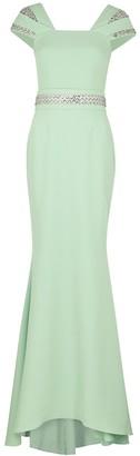Safiyaa Abigail mint embellished stretch-cady gown