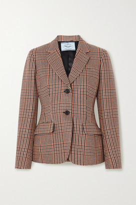 Prada Checked Wool And Cashmere-blend Tweed Blazer - Brown