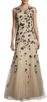 Carolina Herrera Carnation-Embroidered Tulle Mermaid Gown, Neutral Pattern
