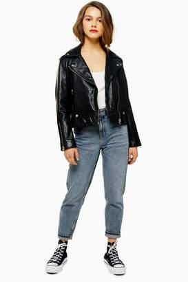 Topshop Womens Petite Real Leather Biker Jacket - Black