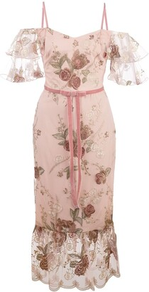 Marchesa embroidered floral bow-detail dress