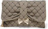 RED Valentino Quilted point d'espirit and canvas clutch