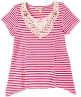 Speechless Pink & Ivory Stripe Crochet-Detail Sidetail Tee - Girls