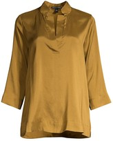 Eileen Fisher Split Mandarin Collar Silk Shirt
